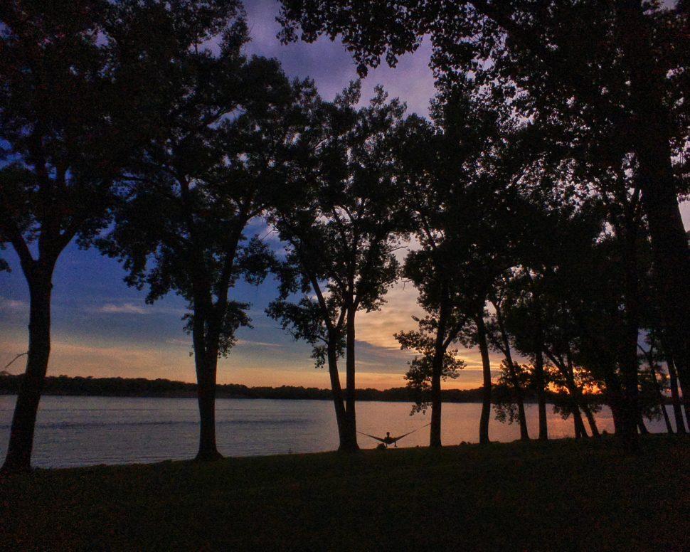 Soaking in a Nebraska sunset in the comfort of a Therm-a-Rest Slacker hammock